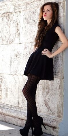 Black patterned tights with black dress and shoes