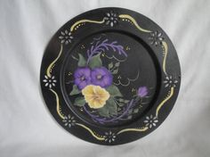 Vintage Hand Painted Metal Tray Plate Pierced by Bluewater930