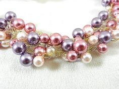 Hand Crocheted Wire Pink Purple Cream Pearl Necklace and Earrings | Jewels2aT - Jewelry on ArtFire