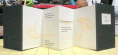 """Handmade flexagon book by Elissa Campbell of Blue Roof Designs - """"Ode-ors of a Ginkgo"""". Book Arts Improv 2014 book #1"""