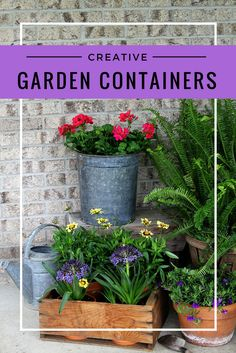 Using creative garden containers for your porch this summer is a great way to shake it up. Ditch the urns - use repurposed, rustic and thrifted planters. #sponsored https://ooh.li/24b2b05