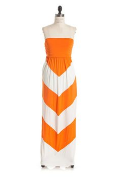 From the Stands Pocket Maxi Dress -Orange Chevron | Hazel & Olive