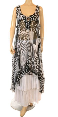 Champagne Exclusive Collection Black & White Abstract Print Chiffon Layering…