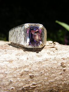 Unisex Emerald Cut Amethyst & Sterling by GoldiesNaturalGems, $132.00 #fashion #jewelry