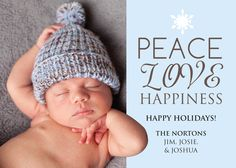 Peace, Love, Happiness light blue photo holiday card with snowflake. Available for purchase/customization at www.etsy.com/shop/simplypaperdesigns