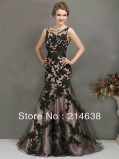 2014 New Design Sweet Elegant Mermaid Black Sexy Formal Evening Dress With Sash Custom Made $109.00