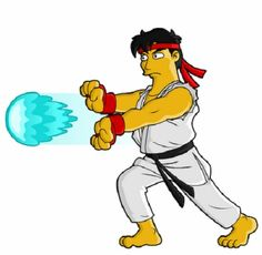 Popular Characters Parodied As 'The Simpsons' Characters - Street Fighter - Ryu