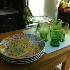 Pier 1 Green Happy Paisley Dinnerware and Green Vintage Flower Tumblers