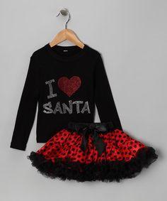 Black 'I Love Santa' Tee & Tutu - Infant, Toddler & Girls
