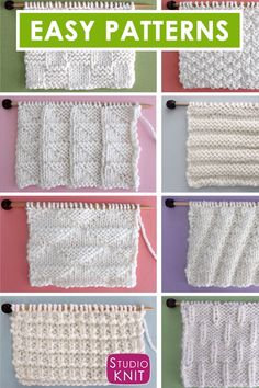 Enjoy this collection of favorite simple Knit Stitch Patterns with different combinations of simple knits and purl stitches. Beginning knitters can create a wide variety of textures and designs with just these two basic knitting techniques. Knitting Stiches, Easy Knitting Patterns, Knitting Videos, Knitting For Beginners, Loom Knitting, Crochet Stitches, Stitch Patterns, Crochet Patterns, Free Knitting