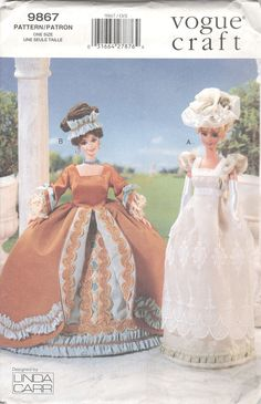 Items similar to Vogue Craft 9867 Sewing Pattern for Inch Dolls Antique Dress Styles Barbie Historical Clothes Dress Petticoat and Hat UNCUT on Etsy Barbie Sewing Patterns, Hat Patterns To Sew, Doll Clothes Patterns, Clothing Patterns, Doll Patterns, Vogue Patterns, Pattern Sewing, Pattern Drafting, Doll Clothes Barbie