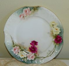 hand painted plate with roses & Vintage ROSE Plate Hand Painted Porcelain | Painted porcelain ...