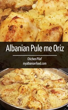 This Albanian Chicken Pilaf is know as Pule me Oriz, the rice is baked with seasoning and in the juices of the chicken making it light and soft. Albanian Cuisine, Albanian Recipes, Albanian Food, Picnic Salad, Udon, Macedonian Food, Scandinavian Food, Scandinavian Chicken Recipe, Food Garnishes