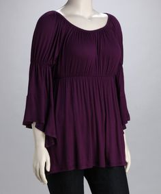 Another great find on #zulily! Purple Bell-Sleeve Peasant Top - Plus #zulilyfinds