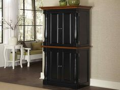 Home Styles Monarch Black & Oak Kitchen Pantry - Open the door to a world of storage possibilities with the Home Styles Monarch Black & Oak Kitchen Pantry. This spacious pantry offers two levels . Wood Pantry Cabinet, Pantry Cabinet Free Standing, Wooden Pantry, Kitchen Pantry Cabinets, Cabinet Doors, Kitchen Storage, Storage Shelves, Storage Ideas, Cupboard