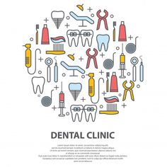 Dentist concept in circle with thin line icons