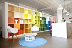 Online print company MOO.COM recently worked with Trifle Creative to colorfully refresh their London offices with a goal of bringing some life and personality to the previously bland space.