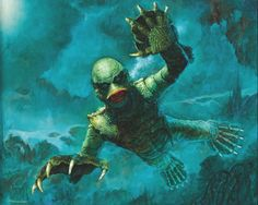 This is a neat painting of 1954's THE CREATURE FROM THE BLACK LAGOON.
