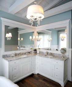 L Shaped Bathroom Vanity Double Sinks Dream Home L Shaped