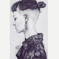 """2,504 Likes, 25 Comments - GWAJA / 지과자 (@gwaja.j) on Instagram: """"20160526 drawing 여자 투블럭은 너무 멋진거 같다ㅜㅜ  #지과자 #드로잉 #GwajaStudio #drawing #dailydrawing #Gwaja"""""""