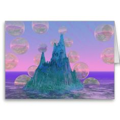 Poetic Mountain, Abstract Magic Teal Pink Greeting Cards #bubbles #dianeclancy