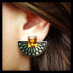 Citrine Fan Earring.Gold plated  Silver. www.aylinbora.com