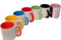 Personalised MUG Coloured Inside and handle, with Your Photo,Logo,Text Mug Art, Mug Printing, Coffee Type, Photo Logo, Personalized Mugs, To My Daughter, Ceramics, Tableware, Prints