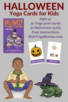 Halloween Yoga Cards for Kids: Celebrate Halloween through yoga moves for kids! Be a cat, crow, and crooked tree through yoga poses for kids! Instantly download these 52 Halloween yoga cards to celebrate Halloween through movement in your home, classroom, or studio. Includes an Index Card, Yoga Tips, Pose Instructions, 20 Yoga Pose Cards, and 20 matching Halloween Cards.| Kids Yoga Stories