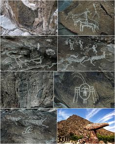 Rock Art of the Helan Mountains ---  Over 6,000 engravings have been documented at Helankou. The engravings have clearly been produced over a considerable period of time, somewhere between 3,000 and 10,000 years ago.  The engravings depict human figures, animals and symbols. the most conspicuous of which is the Sun God engraving.