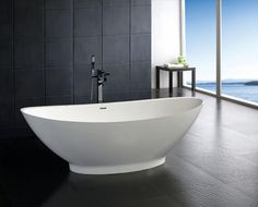 Furniture Fashion Presents 100 Outstanding Modern and Contemporary Bathtubs - Pictures and Styles for those Designing and Redecorating a Master Bathroom Bathtub Makeover, Bathroom Makeovers, Modern Bathtub, Freestanding Bathtub, Contemporary Bathtubs, Stone Bathtub, Bathtub Remodel, Whirlpool Tub, Soaking Bathtubs