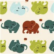 cute white elephant animal oxford fabric by Kokka from Japan