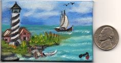 Doll house 2x3in.Micro Mini Orig Art Canvas Oil painting Lighthouse   Nova Hart #Miniature