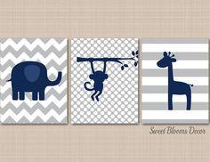 Safari Nursery Decor Navy Gray Animals Nursery Wall Art Navy