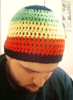 rasta wide striped beanie $25