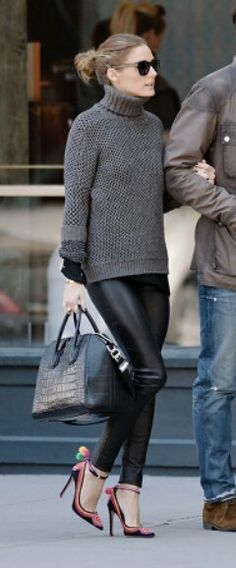 Grey sweater with black leather leggings
