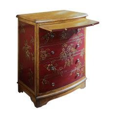 """Accent Chest in Dark Red. ~~  Season associations have permeated art and design from the earliest historical times. This chest celebrates the beauty of cherry blossoms in Spring. It is built in our Blossom finish with hand-painting on deep carmine panels, surrounded by natural wood finish. Approximate Measurements: 26""""W x 31""""H x 17""""D. Color: Dark Red, Composition: Wood, Origin: Canada."""