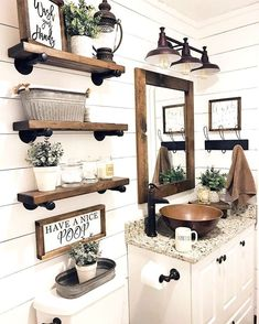 Farmhouse Bathroom Decor And Ideas www. kitchen decor Farmhouse Bathroom Decor And Ideas Rustic Bathroom Designs, Rustic Bathroom Decor, Rustic Bathrooms, Bathroom Design Small, Bathroom Styling, Small Bathrooms, Rustic Decor, Bathroom Interior, Master Bathrooms