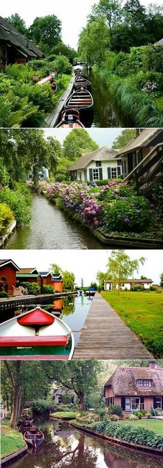 of the Netherlands Giethoorn: the whole village is connected by a water canal system instead of actual roads - brilliant!Giethoorn: the whole village is connected by a water canal system instead of actual roads - brilliant! Places Around The World, Oh The Places You'll Go, Places To Travel, Places To Visit, Around The Worlds, Dream Vacations, Vacation Spots, Beautiful World, Beautiful Places