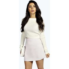 Boohoo Drew Textured Zip A Line Mini Skirt ($16) ❤ liked on Polyvore featuring skirts, mini skirts, short white skirt, zipper mini skirt, a line skirt, zip skirt and short a line skirt