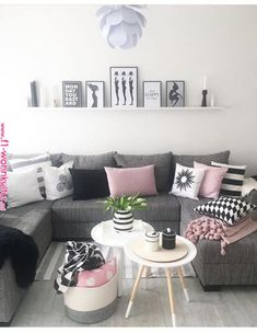 New Living Room Grey Pink White Ideas Living Room Grey, Home Living Room, Interior Design Living Room, Living Room Designs, Living Room Decor, Decor Room, Room Decorations, Christmas Decorations, Black White And Grey Living Room