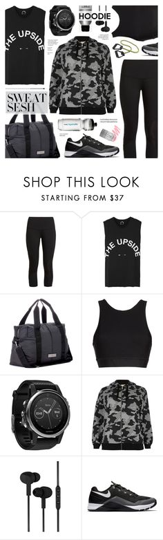 """""""Sweat Sesh: Gym Style"""" by anyasdesigns ❤ liked on Polyvore featuring LNDR, The Upside, adidas, Alala, Garmin, River Island, CYLO, NIKE and Express"""