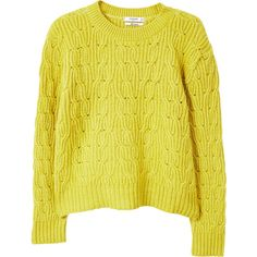 MANGO Cable-knit sweater ($60) ❤ liked on Polyvore featuring tops, sweaters, lime, yellow knit sweater, mango tops, knit top, lime green top and mango sweater