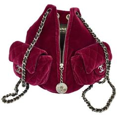 View this item and discover similar for sale at - Stunning cherry velvet backpack by Chanel featuring two chain shoulderstraps and a front zipper, embellished with a logo charm. Luxury Purses, Luxury Bags, Red Purse Outfit, Chanel Bag Classic, Chanel Backpack, Chanel Boots, Red Purses, Best Handbags, Fashion Bags