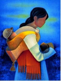 Manuella by Louis Toffoli Illustration Art, Illustrations, Art Textile, Art Original, Arte Popular, Indigenous Art, Mexican Art, Mother And Child, Indian Art
