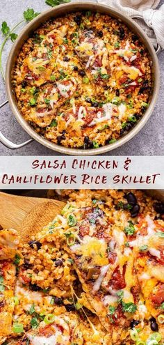 Salsa Chicken and Cauliflower Rice Skillet is a quick, easy to make and healthy dinner! Seasoned with Mexican spices, your favorite salsa and topped with plenty of melted cheese. It's perfect for busy nights! #chicken #chickenrecipes #salsachicken #cauliflowerrice #cauliflower #lowcarb #healthydinner #onepanmeal