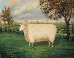 Primitive folk art sheep painting