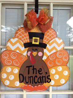 Front door decor, front door decorations, fall door hanger, Thanksgiving turkey…
