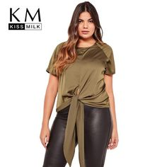 ddf4c47847d Plus Size Casual Tied Short Sleeve T-shirt O-Neck Plus Size Womens Clothing