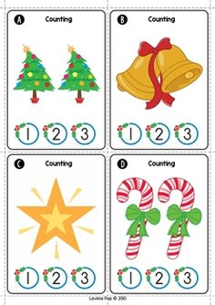 Christmas Math Centers for Kindergarten. Count and clip activity.