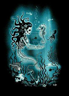Mermaid Catrina with Seahorse:: ScreamingDemons Arte Emo, Mermaid Skeleton, Mermaid Zombie, Halloween Mermaid, Day Of The Dead Art, Mermaids And Mermen, Mermaid Tattoos, Merfolk, Mermaid Art